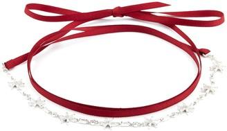 HEFANG 'Float Snow' cubic zirconia silver ribbon tie choker