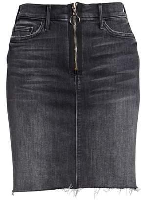 Mother Swooner Exposed Zip Denim Miniskirt