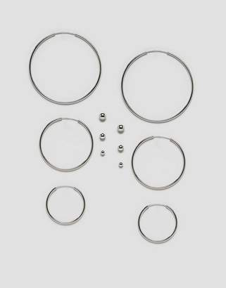 Monki Stud And Hoops Multi Pack In Silver