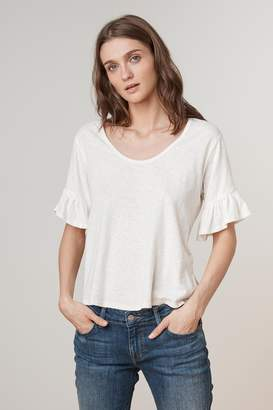 Velvet by Graham & Spencer DANALY RUFFLE SLEEVE SCOOP NECK TEE