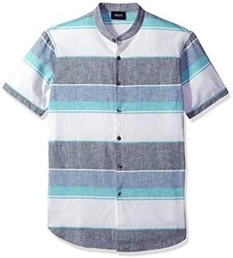 Armani Jeans Men's Slim Fit Stripe Short Sleeve Linen Shirt