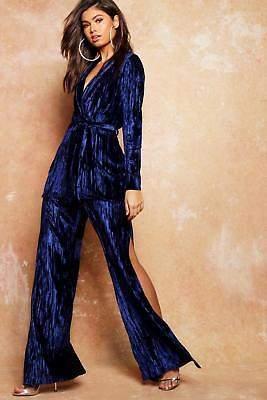 boohoo NEW Womens Velvet Pleated Split Trousers in Polyester 5% Elastane