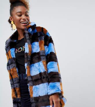 Monki Faux Fur Checked Jacket