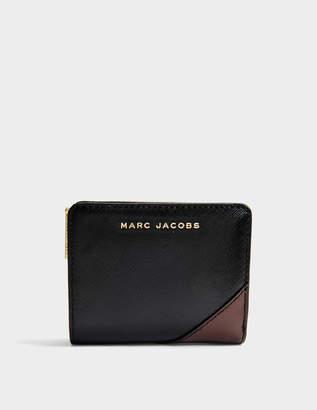 Marc Jacobs Saffiano Mini Compact Wallet in Black Multi Split Cow Leather