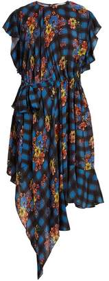 Preen Line Ora Floral And Check Print Woven Dress - Womens - Blue Multi