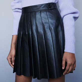 Maje Pleated leather skirt