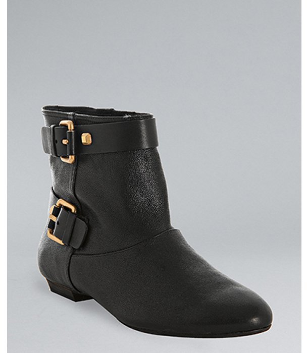 BCBGMAXAZRIA black leather 'Falla' buckle ankle boots