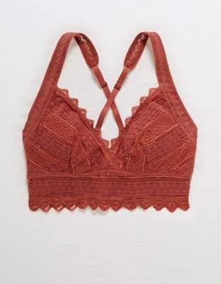 aerie Crochet Lace Longline Padded Bralette