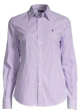 316f5fc39995 Polo Ralph Lauren Women s Andrew Kendal Slim-Fit Long Sleeve Striped Shirt  - Purple White