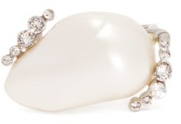Givenchy - Midnight Crystal And Faux Pearl Ring - Womens - Pearl