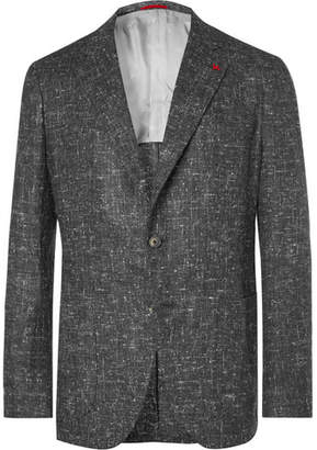 Isaia Grey Slim-Fit Donegal Silk, Wool and Cashmere-Blend Blazer - Gray