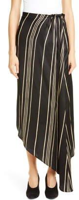 Co Stripe Drawstring Waist Asymmetrical Skirt