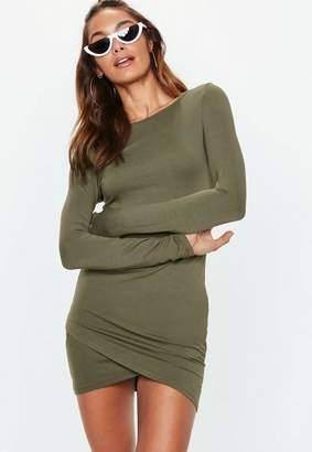 Missguided Khaki Green Wrap Hem Bodycon Mini Dress