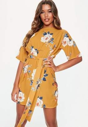 Missguided Mustard Tie Waist Floral Shift Dress