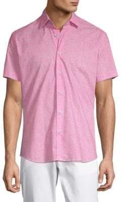 Printed Short-Sleeve Cotton Button-Down Shirt