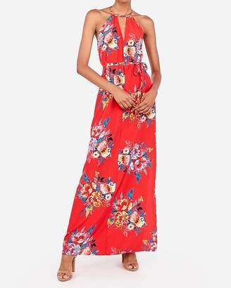 Express Floral Halter Cut-Out Sash Tie Maxi Dress