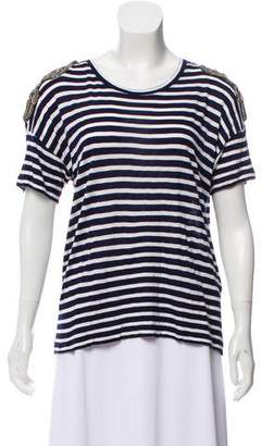The Kooples Striped Embroidered T-Shirt