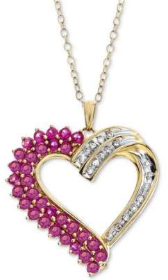 Macy's Lab-Created Ruby (1-1/4 ct. t.w.) & Diamond (1/10 ct. t.w.) in 14k Gold-Plated Sterling Silver