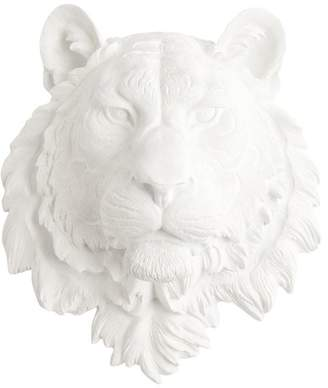 White Faux Taxidermy Faux Resin Tiger Head Wall Mount