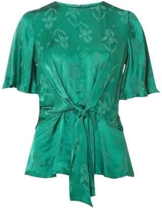 Dorothy Perkins Womens Green Jacquard Short Sleeve Top