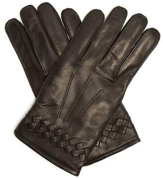 Bottega Veneta - Intrecciato Cuff Leather Gloves - Mens - Black