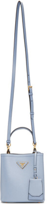Prada Blue Saffiano Small Double Bag