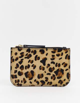 Urban Code Urbancode leather coin purse with card holder in leopard