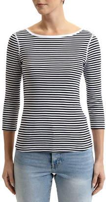 Three Dots British Striped Boat-Neck 3/4-Sleeve Tee