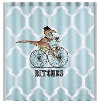 Vandarllin Custom Dinosaur Bicycle Geometric Pattern Waterproof Shower Curtain Bathroom Decor