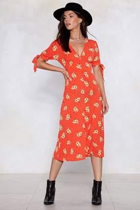 Nasty Gal Floral Wrap Midi Dress
