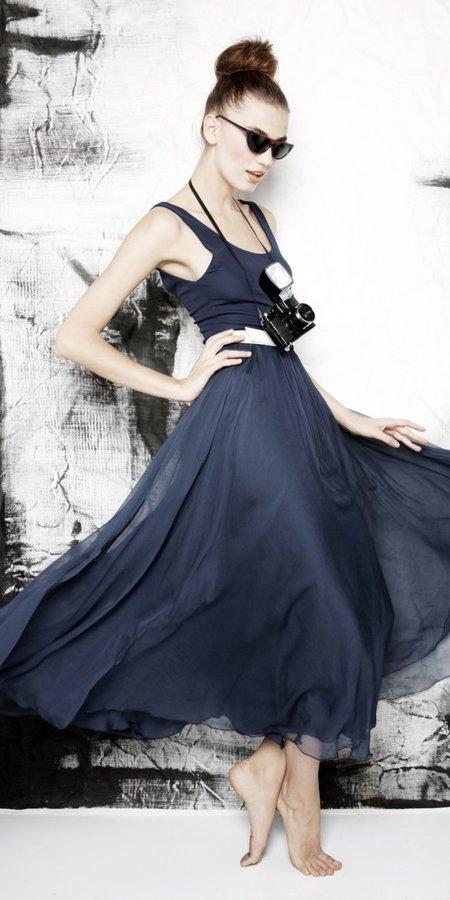 Laken long tank dress with belt navy