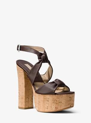Michael Kors Cecily Calf Leather Platform Sandals