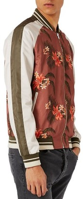 Men's Topman Tropical Print Satin Bomber Jacket $100 thestylecure.com