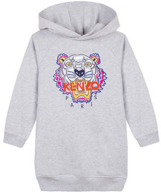 Kenzo Fleece Tiger Embroidered Hoodie Dress, Size 4-6