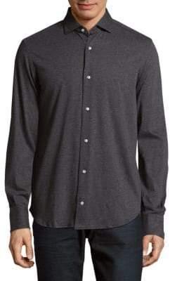 Eleventy Checkered Cotton Casual Button-Down Shirt