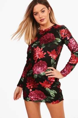 boohoo Petite Floral Sequin Long Sleeve Bodycon Dress