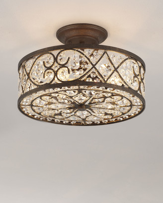 Horchow Woven Crystal Semi-Flush Ceiling Fixture
