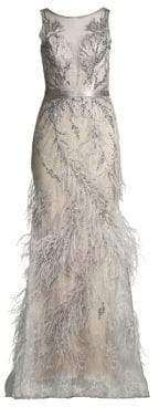 Basix II Black Label Lace& Feather Trim Column Dress