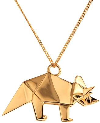 Origami Jewellery Triceratop Necklace Gold