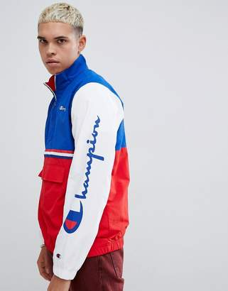 Champion overhead jacket with logo sleeve print in red