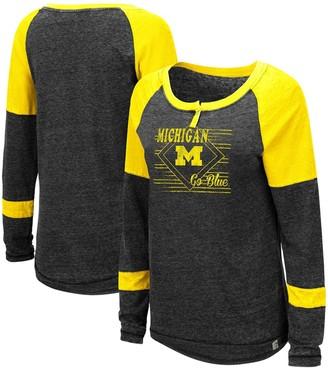 Colosseum Women's Heathered Black Michigan Wolverines Miranda Henley Raglan Long Sleeve T-Shirt