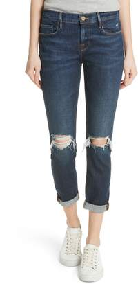 Frame Le Garcon Ripped Ankle Slim Boyfriend Jeans