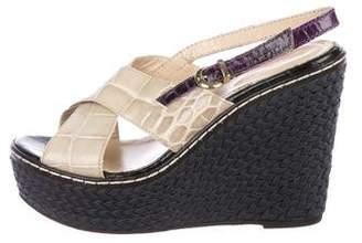 Emporio Armani Alligator Wedge Sandals