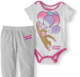 Curious George Baby Girls' Bodysuit & Jogger Pants, 2pc Outfit Set