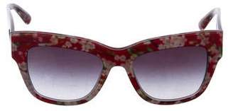 Dolce & Gabbana Floral Print Oversize Wayfarer Sunglasses