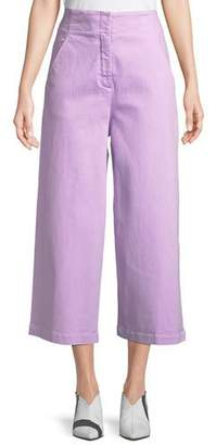 Tibi High-Waist Wide-Leg Cropped Jeans