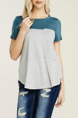 Papermoon Clothing Teal Colorblock Tee