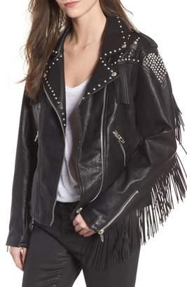 Blank NYC BLANKNYC Studded Fringe Faux Leather Moto Jacket