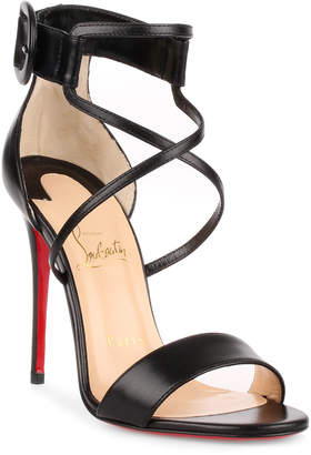 Christian Louboutin Choca 100 Black Leather Sandal