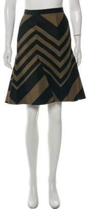 Lanvin Chevron A-Line Skirt Brown Chevron A-Line Skirt